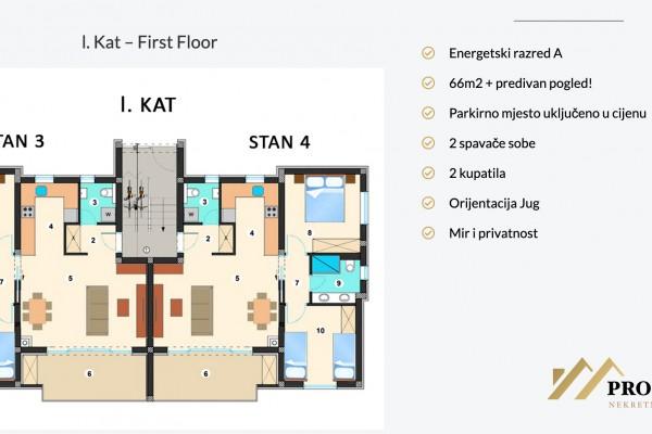 Stan u Sukošanu novogradnja, prvi kat, 65.99 m2, 300 m od mora