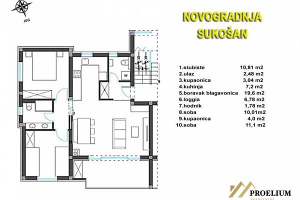 Stan u Sukošanu novogradnja, drugi kat, 65.99 m2, pogled na more, 300 m od mora