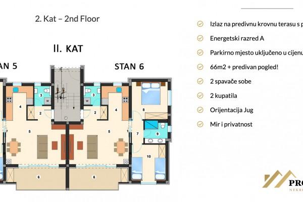 Stan u Sukošanu novogradnja, drugi kat, 65.99m2, pogled na more, 300m od mora